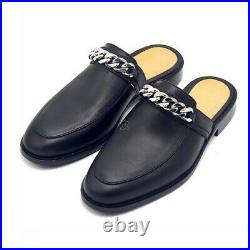 New Mens Handmade Real Leather Loafers Mules Cow Leather Chain Slipper Shoes sz