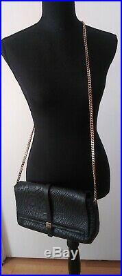 New Ripani Made In Italy Genuine Leather Black Clutch Crossbody Bag With Chain
