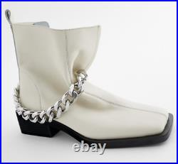 Nwt Zara Chain Ivory Runway/vogue Must Square Toe Pinterest Real Leather Boots