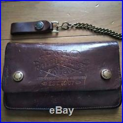 POLO RALPH LAUREN Leather Long Wallet With Chain Logo Embossing Genuine USED