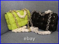 Puffy Padded Woven Real Leather Metal Chain Shoulder Bag Crossbody Clutch Tote
