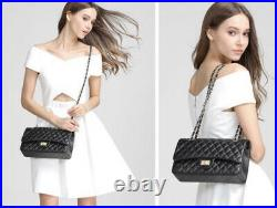 Quilted Sheepskin 100% Genuine Leather Double Flap Chain Strap Shoulder Bag