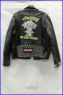 Real Leather Mens One Of A Kind Jacket Studded The Unseen Patched Bada$$ Chains