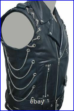 Real Leather Vest Heavy Motorcycle Duty With Chains Biker Vest Punk