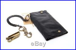 Retro Style Genuine Leather Wallet Black Stainless Steel Chain & Dragon Keychain