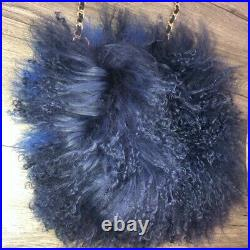 River island bag Mongolian Afghan Fur Real Leather Blue Chain Pouch