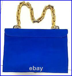 Royal Blue genuine suede leather bag purse clutch w-gold hardware and chain