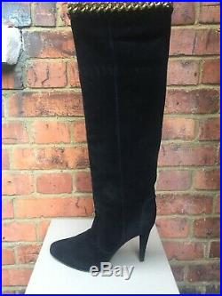 SERGIO ROSSI Black REAL SUEDE Leather CHAIN Over-knee Long Boots UK6 7 RRP300