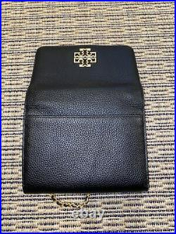 Tory Burch Britten Gold Chain Wallet Black Pebbled Leather Genuine Free Shipping