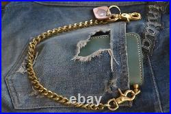 VINTAGE BIKER Oiled Genuine Leather Card Holder Wallet With chain For Men Gift