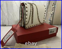 Valentino 100% Genuine Rockstud Chain Ivory Leather Bag RRP £740 NEW WITH BOX