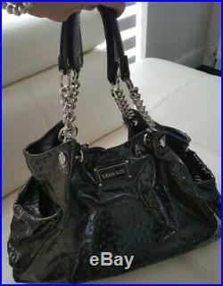 Versace Large Black Patent Leather Chain Bag GENUINE