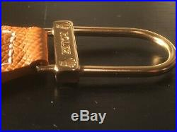 Vintage Genuine ROLEX Brown Leather KEY CHAIN Ring with Box RP 4003