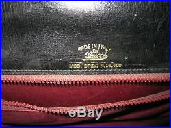 Vtg. Gucci Genuine Leather Handbag With Chain Accents