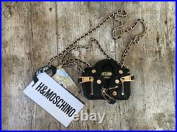 WOMENS HAND BAG Shoulder Bag MOSCHINO H&M Purse Real Leather Jacket Chain Gold
