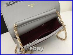 Wallet on Chain WOC Gold Chain Genuine Black Leather Clutch Handbag with Logo