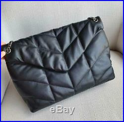 Womens Real Leather Quilted Flap Over Metal Chain Strap Shoulder Bag