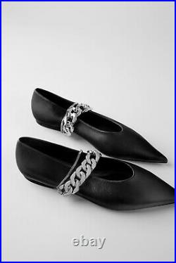 Zara Authentic Genuine Soft Leather Ballet Flats With Chain Black 1520/510
