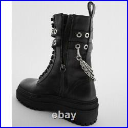 Zara New Genuine Leather Low Heeled Chain Ankle Boots Black Size 6.5