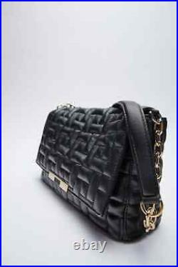 Zara Quilted Leather Shoulder Bag With Chain Strap, New & Genuine